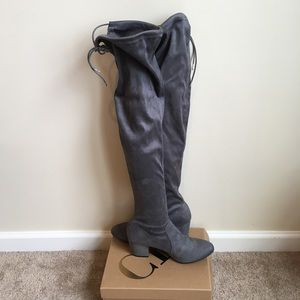 New Grey Suede Over the Knee High Heel Boots